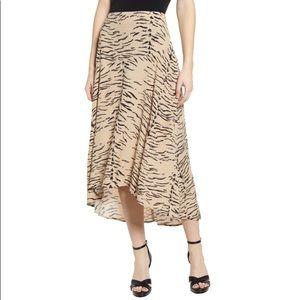 Leith Hi Low Animal Print Paneled Slip Midi Skirt